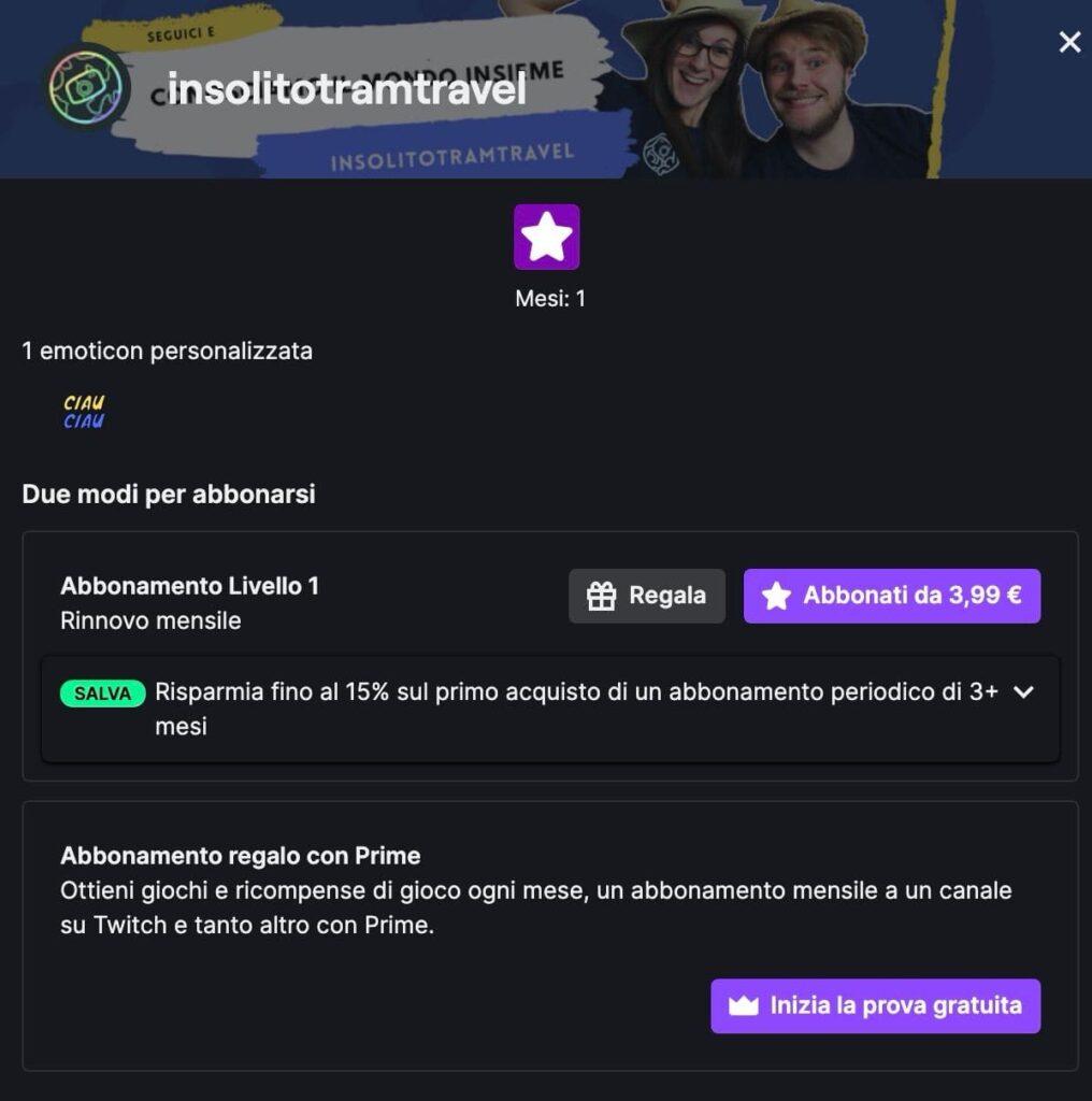 schermata abbonamenti twitch
